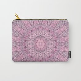 Delicate Pink Grey Boho Chic Mandala Carry-All Pouch