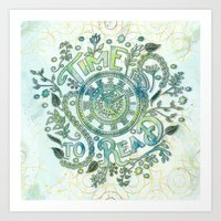 Time To Read - Watercolor Green Art Print