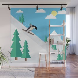 Downhill Skiing Penguin Wall Mural