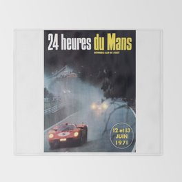 Le Mans poster, 1971, Le Mans t shirt, vintage car poster Throw Blanket