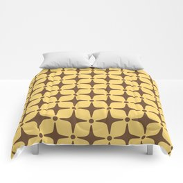 Mid Century Modern Star Pattern Brown and Yellow Comforters