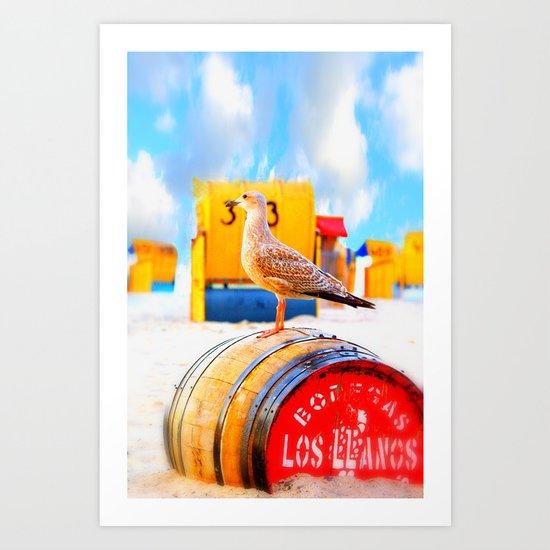 On the beach a seagull guarding the wooden barrel Art Print