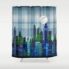 Plaid City Twilight Shower Curtain