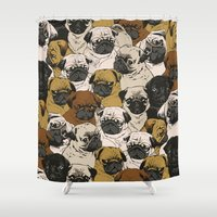 dogs Shower Curtains featuring Social Pugz by Huebucket