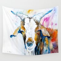 goat Wall Tapestries featuring Goat 2 by Slaveika Aladjova
