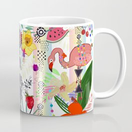 Tropical Flower, Flamingo and Exotic Flowers Pattern With Cherry, Strawberry Coffee Mug