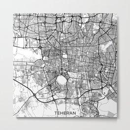 Teheran Map Gray Metal Print