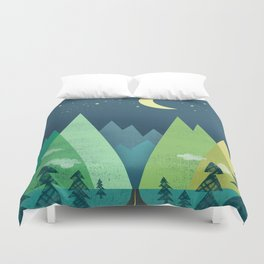 The Long Road at Night Duvet Cover