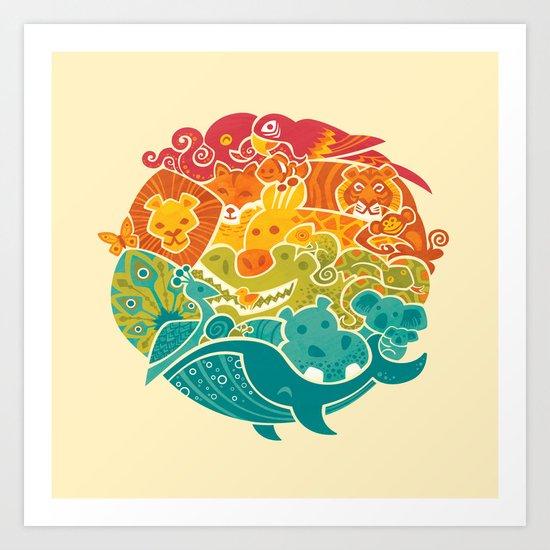 Animal Rainbow - cream Art Print