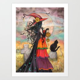 Witch Way Halloween Witch and Cat Fantasy Art by Molly Harrison  Art Print