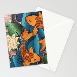 Carp Koi Fish in pond 002 Stationery Cards