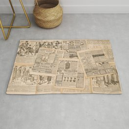 Newspaper pages with antique advertising. Fashion magazine for woman Rug