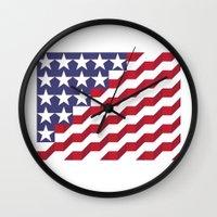 american flag Wall Clocks featuring American Flag by Mychal Diaz