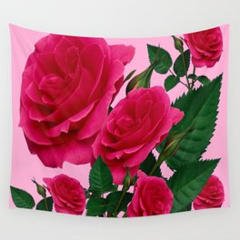 DECORATIVE RED GARDEN ROSES PINK ART Wall Tapestry