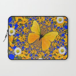 BUTTERFLY GREEN FROGS WHITE DAISIES BLUE MANDALA Laptop Sleeve