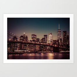 Freedom Tower and Brooklyn Bridge, New York City 2 Art Print