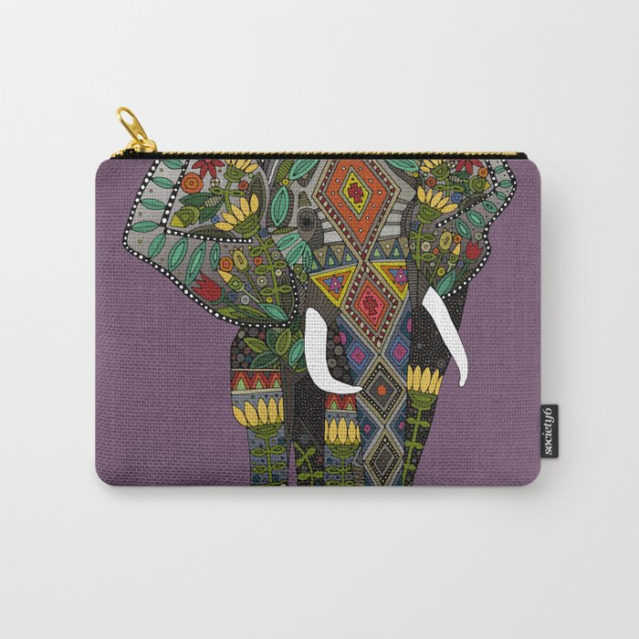 floral elephant violet Carry-All Pouch