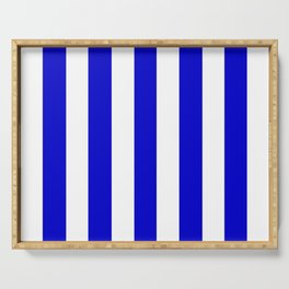 Medium blue - solid color - white vertical lines pattern Serving Tray