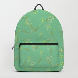 Whimsical dandelion and wheat pattern on sage Backpack
