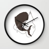 moby dick Wall Clocks featuring Moby Dick by Daniel Feldt