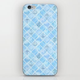 Watercolor Arabesque Tiles with Art Nouveau Focal Designs in Blue iPhone Skin