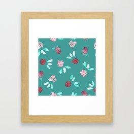 Clover Flowers Pattern on Mint Green Framed Art Print