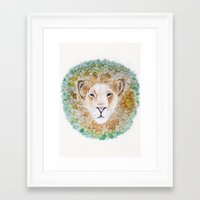 simba Framed Art Prints featuring Simba by Juliette Thornbury