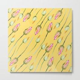 Watercolor Water Lilies Metal Print