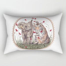 Tiger, Baby Elephant, and Mouse Playing in Poppies Rectangular Pillow