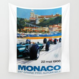 Gran Prix de Monaco, 1966, original vintage poster Wall Tapestry