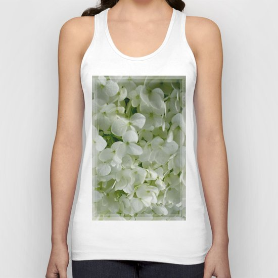 White Hydrangia Blossom Unisex Tank Top