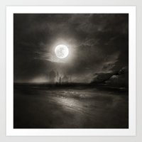 the moon Art Prints featuring Moon by Viviana Gonzalez