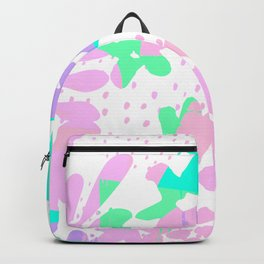 Geometrical abstract pink teal green polka dots floral Backpack