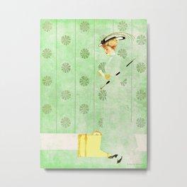 "Coles Phillip's 'Fadeaway Girl' Illustration  ""Yellow Suitcase"" Metal Print"