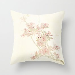 Watercolour of pink blossom Throw Pillow