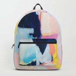 Passions II - abstract art in navy, blush, teal, white, and yellow Backpack