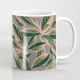 Calathea Leaves Pattern- Pink Green Gray Coffee Mug