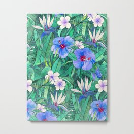White Bird of Paradise & Blue Hibiscus Tropical Garden Metal Print