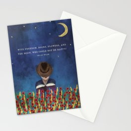 With Freedom, Books, Flowers, and the Moon, Who Could Not Be Happy? Oscar Wilde Quote in Painting Stationery Cards