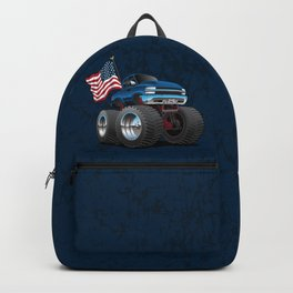 Monster Pickup Truck with USA Flag Cartoon Backpack