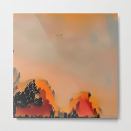 Sunrise in Halle with Tiny Plane Metal Print