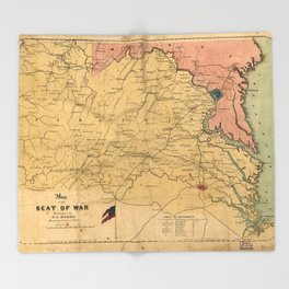 Map of the Seat of War, Virginia & Maryland (1861) Throw Blanket