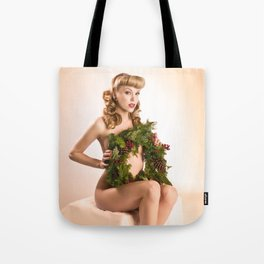 """Better Than an Ugly Sweater"" - The Playful Pinup - Christmas Wreath Pin-up by Maxwell H. Johnson Tote Bag"