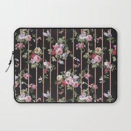 Elegant faux rose gold black stripes vintage blush pink lavender floral Laptop Sleeve