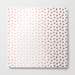 Rose Gold Triangle Checkers Metal Print