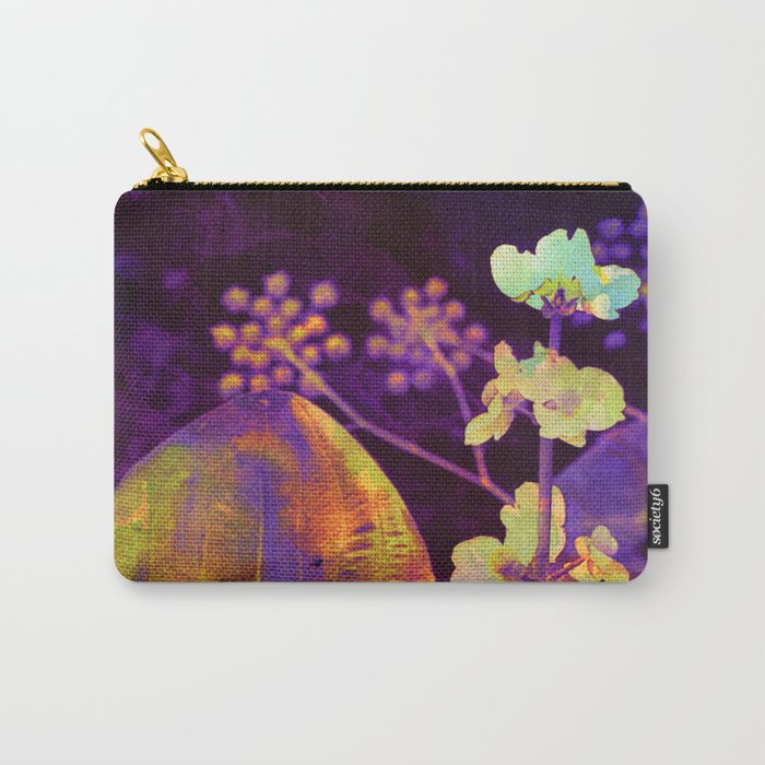 bright flower and leaf on dark background Carry-All Pouch
