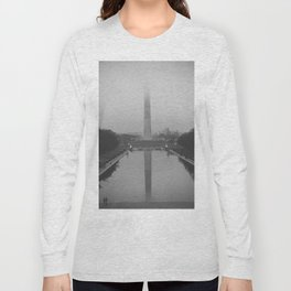 Washington Monument shrouded in fog Long Sleeve T-shirt