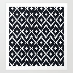 southwest diamonds _ black on white Art Print