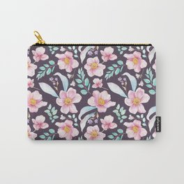 Elegant purple pink teal watercolor botanical floral pattern Carry-All Pouch
