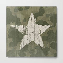 Military camouflage  with star Metal Print